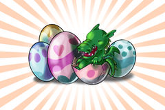 Baby Dragon out of Easter eggs. Baby Dragon out of some colored Easter eggs royalty free illustration