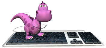 Baby dragon pink on keyboard happy Royalty Free Stock Photos