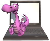 Baby dragon pink on laptop Stock Photo