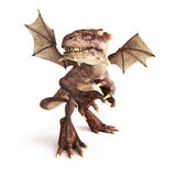 Baby dragon. Dragon posing in a fierce position on a white background. Part of a dragon series Stock Images