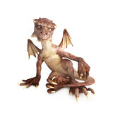 Baby dragon. Sitting on a white background Royalty Free Stock Photos