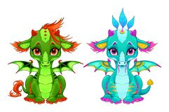 Baby dragons with cute eyes and smile stock image