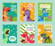 Baby dragons set of birthday or invitation cards or banners vector illustration. Cartoon funny little sitting dragons. With wings. Fairy dinosaurs with cake vector illustration