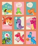 Baby dragons set of birthday or invitation cards or banners vector illustration. Cartoon funny little dragons with wings. Baby dragons set of birthday or royalty free illustration