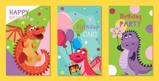 Baby dragons set of birthday or invitation cards or posters vector illustration. Cartoon funny little dragons with wings. Fairy dinosaurs with cake, baloons vector illustration