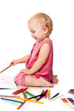 Baby drawing Stock Photography
