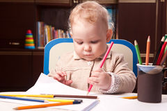 Baby drawing Stock Photo