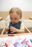 Baby drawing royalty free stock photography
