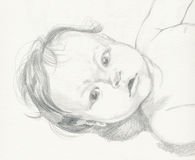 Baby, drawing. Hand drawing picture with portrait of baby Royalty Free Stock Photo