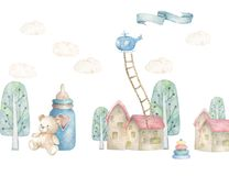 Baby dream land with treen and little house, helicopter nad strairs. Children illustration. Watercolor cute town. White background vector illustration