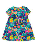 Baby dress with floral pattern. Stock Photos