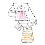 Baby dress sketch. Clothes on the hanger. Hand drawn handbag Stock Image
