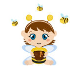 Baby dressed as bee. Royalty Free Stock Images