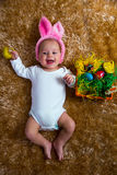 Baby dressed as the Easter bunny Royalty Free Stock Photos