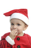 Baby dressed as santa clause Stock Photography