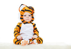 Baby. Dressed as a tiger. masquerade Stock Photo