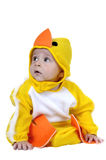 Baby dressed chicken. Baby dressed in a baby chicken costume Stock Photo