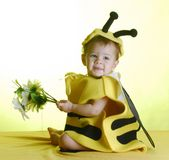 Baby dressed up like a bee royalty free stock photo