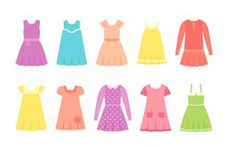 Baby dresses. Vector illustration. Girl clothes in flat stock illustration