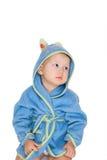 Baby dressing blue bathrobe Royalty Free Stock Photos