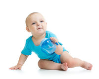 Baby drinking from bottle Stock Photos