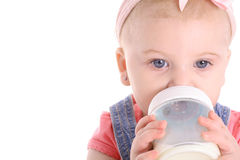 Baby drinking bottle copyspace Royalty Free Stock Images