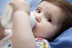 Baby drinking milk. Nine months old baby drinking milk from bottle holding with both hands Royalty Free Stock Photo
