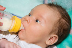 Baby drinks milk. Newborn baby is drinking from the bottle Stock Images