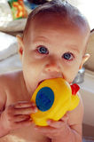 Baby with duck. Baby taking a bath with rubber duck Royalty Free Stock Image