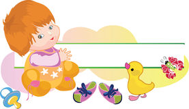 Baby with a duck and baby's dummy. Butterfly Royalty Free Stock Image