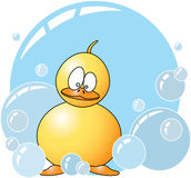 Baby Duck with Soap Bubbles Stock Photography