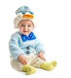 Baby in duck suit. Posing at camera on white background stock photo