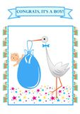 Baby due arrived with stork stock illustration