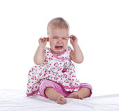 Baby with ear ache Royalty Free Stock Images