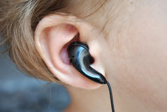 Baby ear listening headphones Royalty Free Stock Photography