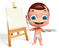 Baby with easel  and color palate Stock Photos