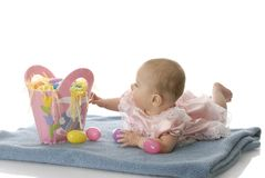 Baby with easter basket Stock Photography