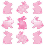 Baby Easter Bunnies. Baby bunny rabbits in pastel pink gingham & polka dots for baby books, scrapbooks, albums, Easter Royalty Free Stock Image