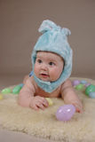 Baby in easter bunny costume. Six months baby boy dressed as a easter bunny Royalty Free Stock Photos