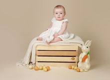 Baby with Easter Bunny and Eggs Royalty Free Stock Photo