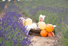 Baby in easter bunny suit. Infant child in the handmade basket bunny suit at the lavender field Stock Photo