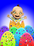 Baby With Easter Eggs. Baby amongst a load of Easter Eggs Stock Photo