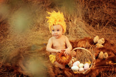 Baby in Easter nest Stock Images
