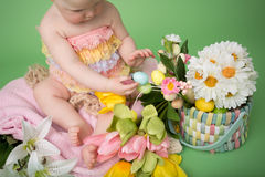 Baby in Easter Outfit, Easter Celebration Royalty Free Stock Images