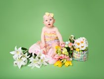 Baby Easter outfit, with Eggs and Flowers Royalty Free Stock Image
