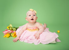 Baby in Easter Outfit, Tummy Time Royalty Free Stock Photography