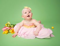 Baby in Easter Outfit, Tummy Time Stock Images