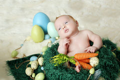 Baby on an Easter Set Stock Images