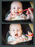 baby eat first time Stock Image