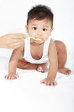 Baby Eating. A baby being feed on a white background Stock Photo